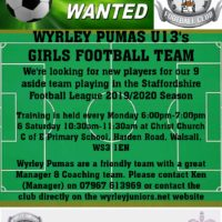 Wyrley Pumas U13's Girls are looking for New players Yr7/8